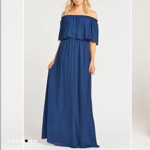 NWT Show Me Your Mumu Navy Chiffon Maxi Dress